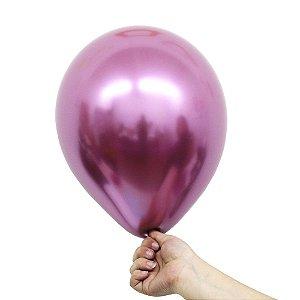 Balão Bexiga Metalizado Alumínio Fucsia N°09 23cm - 25 Unidades