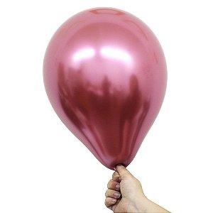 Balão Bexiga Metalizado Alumínio Pink N°09 23cm - 25 Unidades