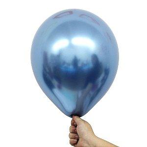 Balão Bexiga Metalizado Alumínio Azul N°09 23cm - 25 Unidades
