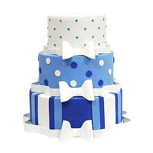 Bolo Fake Decorativo Laços Azul e Branco