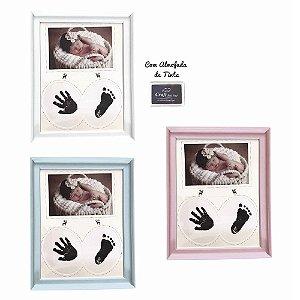 Porta Retrato para Bebê 26,5x22cm com Carimbo para Pézinho e Mãozinha