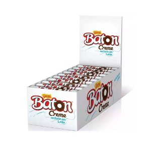 Caixa Chocolate Baton Garoto Recheio Creme ao Leite 16g com 30 Unidades