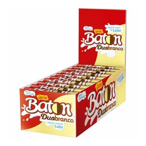 Caixa Chocolate Baton Garoto Duo Branco 16g com 30 Unidades