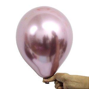 Balão Bexiga Metalizado Alumínio Rose N°09 23cm - 25 Unidades