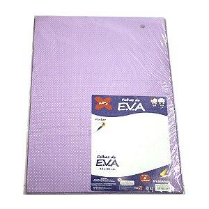Folha de EVA 40x60cm Estampado Poa Lilás e Branco - 5 unidades