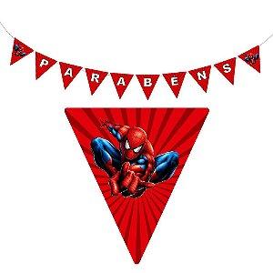 10 Bandeirolas Triangular Homem Aranha