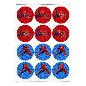 12 Adesivos Homem Aranha Redondo 6,5cm