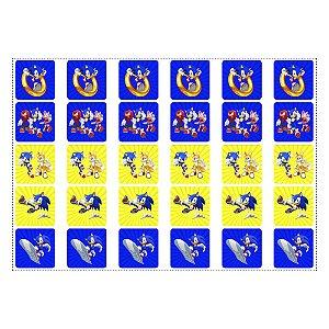 30 Adesivos Sonic Quadrado 3,7cm