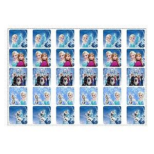 30 Adesivos Frozen Quadrado 3,7cm