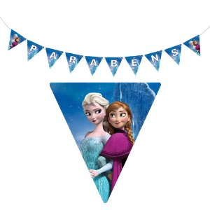 10 Bandeirolas Triangular Frozen