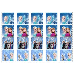 20 Adesivos Frozen Quadrado 4,7cm