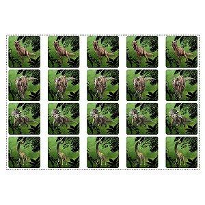 20 Adesivos Dinossauros Quadrado 4,7cm