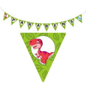 10 Bandeirolas Triangular Dinossauros Baby