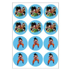 12 Adesivos Dragon Ball Redondo 6,5cm