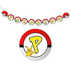10 Bandeirolas Triangular Pokémon