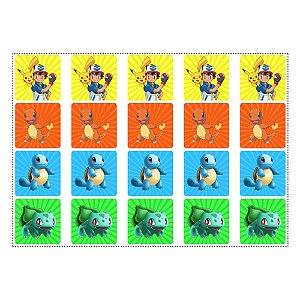 20 Adesivos Pokémon Quadrado 4,7cm