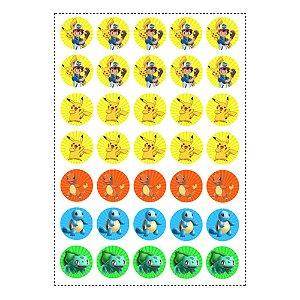 35 Adesivos Pokémon Redondo 3,5cm