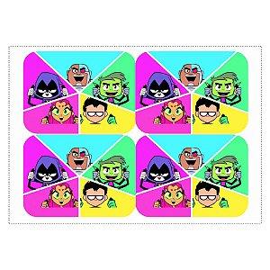 12 Adesivos Teen Titans para Marmitinha 240ml