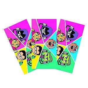 6 Adesivos Teen Titans Retangular 20x10cm