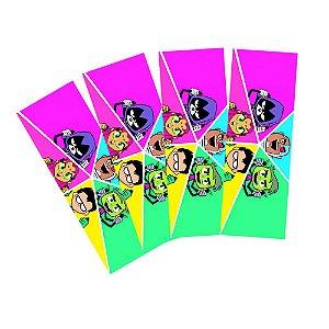 8 Adesivos Teen Titans Retangular 20x7cm