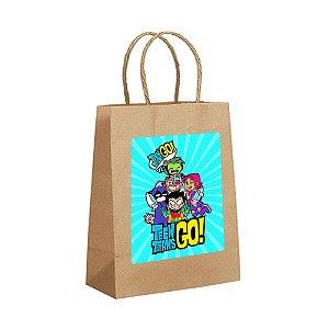 4 Sacolas de Papel Kraft Teen Titans Tamanho P