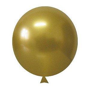 Balão / Bexiga Metalizado Alumínio Dourado N°05 - 25 Unidades