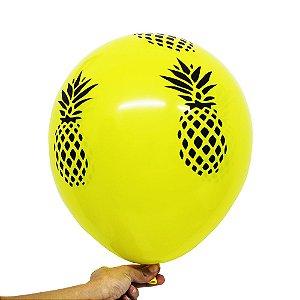 Balão Bexiga Festa Abacaxi amarela  Nº 11 28cm - 25 Unidades