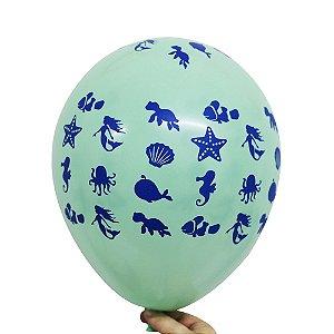 Balão Bexiga Festa Fundo do Mar Sortido Nº 11 28cm - 25 Unidades