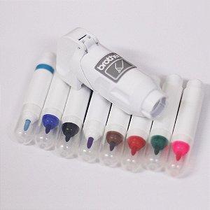 Caneta p/ScannCut permanente 6 cores + Caneta p/ScannCut tinta removível 2 cores + Suporte de Caneta branco 1 un