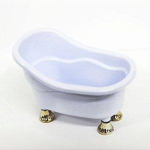 Banheirinha Branca Pequena com PÉ  Dourado - 1 unidade