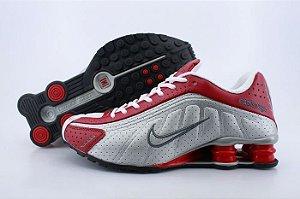 Nike Shox R4 Preto Prata E Vermelho