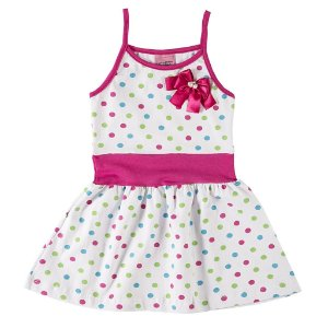 Vestido com Alças Poá Pink