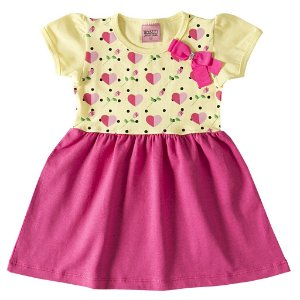 Vestido Amarelo e Pink com Estampa Corações