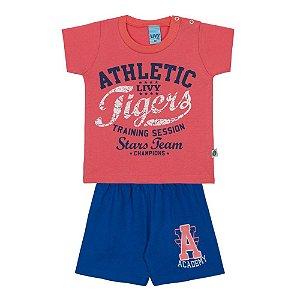 Conjunto Bebê Camiseta em Meia Malha Vermelha e Bermuda Moletinho Azul