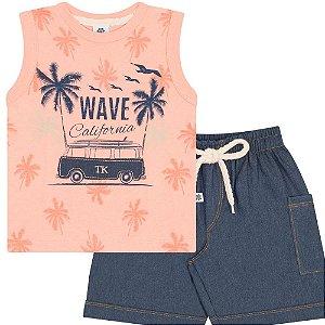 Conjunto Infantil Regata Wave Salmão e Shorts Jeans Marinho