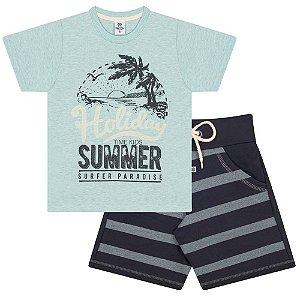 Conjunto Infantil Camiseta Holiday Summer Verde Água e Shorts de Moletom Preto