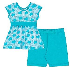 Conjunto Infantil Blusa em Meia Malha Azul e Shorts de Ribana Azul
