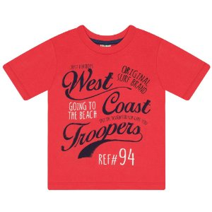 Camiseta Infantil em Meia Malha com Estampa Vermelha