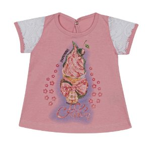 Blusa Bebê em Meia Malha com Renda Rosa