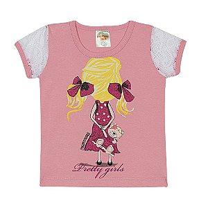 Blusa Infantil em Cotton Rosa com Renda