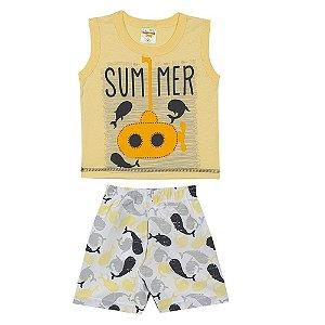 Conjunto Bebê Regata Summer Amarela e Bermuda em Tactel Estampado Amarela