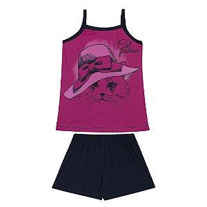 Conjunto Infantil Blusa de Alcinha em Meia Malha Cat Fashion Pink e Shorts em Cotton Marinho