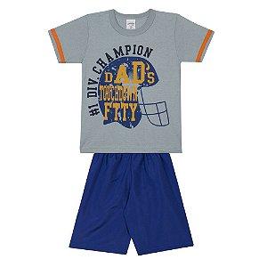 Conjunto Infantil Camiseta em Meia Malha Champion Cinza e Bermuda em Tactel Azul