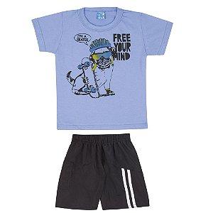 Conjunto Camiseta Meia Malha Azul + Bermuda Tactel Azul Marinho