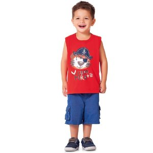 Camiseta Regata Cute Pirate Vermelha
