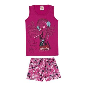 Conjunto Regata Music Pink + Short Estampado
