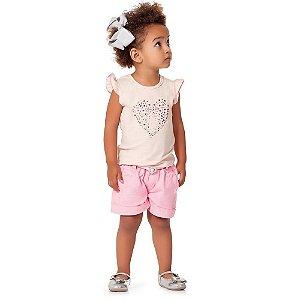 Conjunto Blusa Coração + Bermuda Sarja Rosa Claro