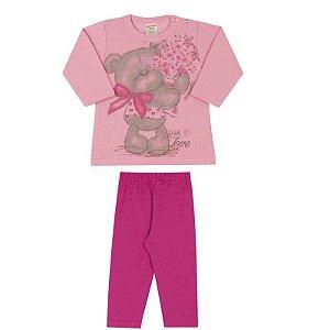 Conjunto Blusa Bear Rosa Moletom + Legging Cotton Pink