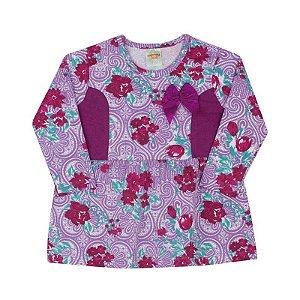 Vestido Pimentinha em Cotton Estampado Uva