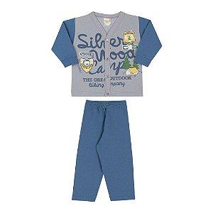 Conjunto Blusa Cardigan Cinza Claro + Calça de Moletom Jeans